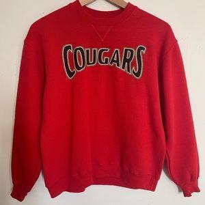 Vintage COUGARS Red Full Length Sleeve Sweatshirt